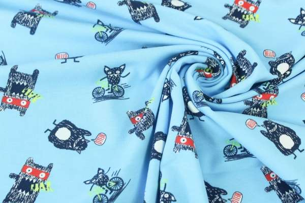 Monsterfriends blau Baumwolljersey Öko Tex 100