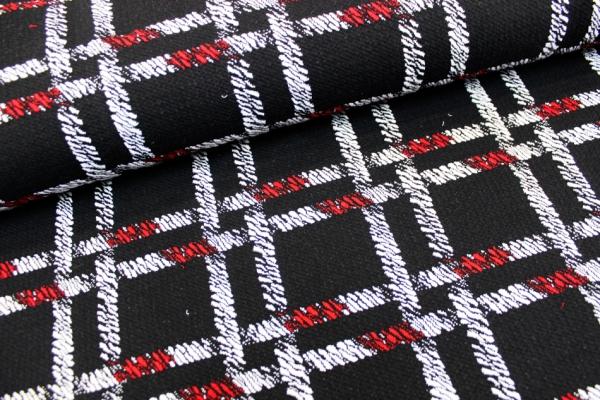 Jacquard Scarlet rot-schwarz-weiß Ökotex 100