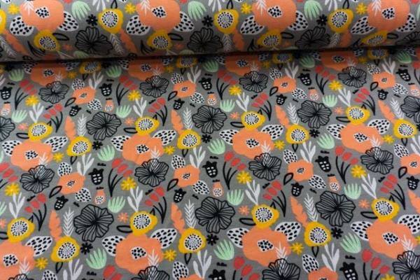 Baumwolljersey Flowery grau Ökotex 100