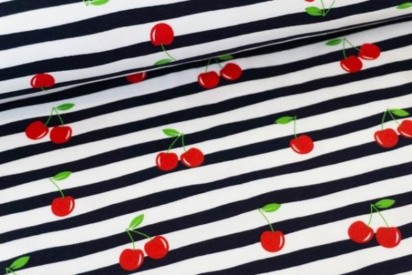Baumwolljersey Cherry Stripes navy-weiß Ökotex 100