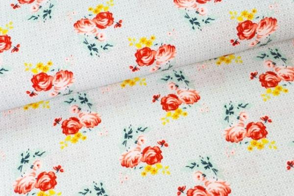 Baumwollwebware Charming Roses hellgrau Ökotex 100