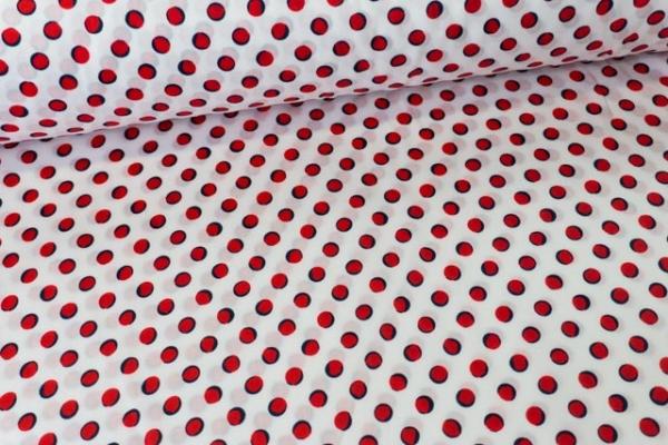 Baumwollwebware Popeline Tupfen weiß-rot Ökotex 100