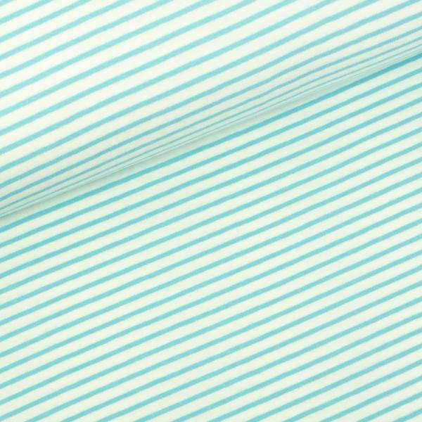 Baumwolljersey Small Stripes weiß-türkis