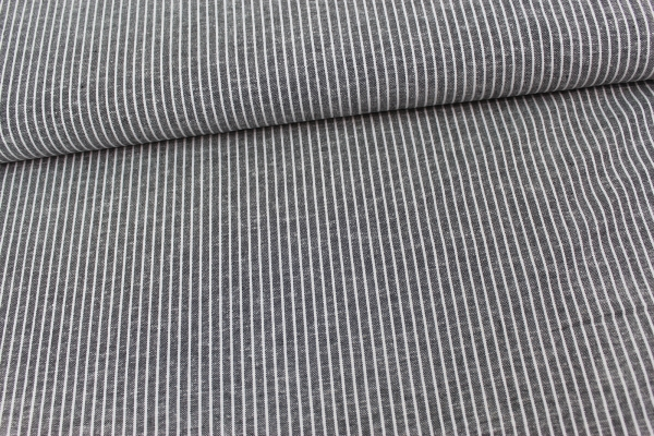Leinen Stripes schwarz meliert Ökotex 100
