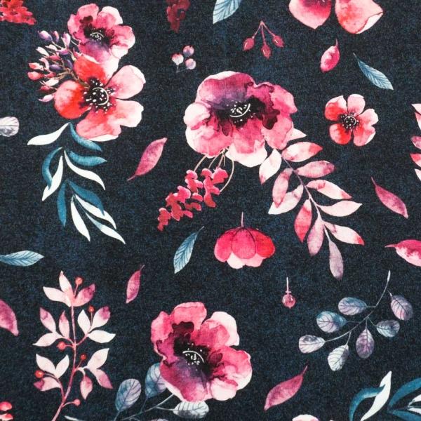 Bio-Baumwolljersey Melange Berry Bloom navy