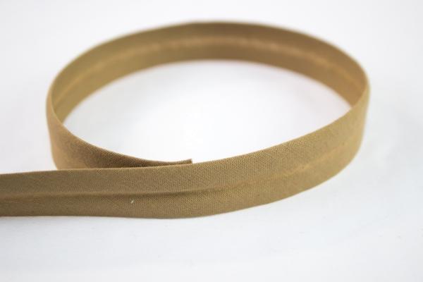 Schrägband vorgefalzt beige-dunkel Ökotex 100