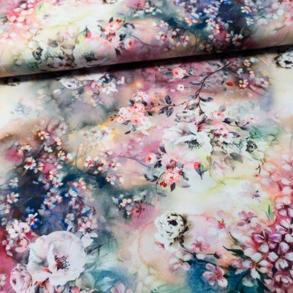 Viskosewebware Rosen und Kirschblüten aquarell