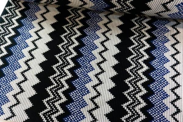 Extra dicker Taschen/Ponchostoff Boho schwarz-natur-dunkelblau Ökotex 100