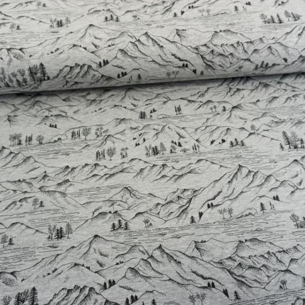 Baumwolljersey Landschaft grau meliert
