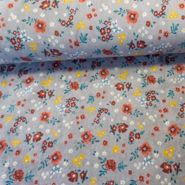 Nicki Velours Großes Blumenmeer grau