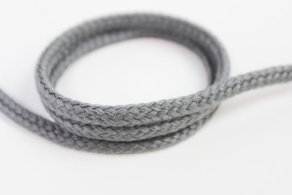 6mm Hoodie Kordel Flachkordel grau Baumwolle Ökotex 100