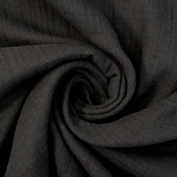 Bio-Musselin Double Gauze Uni schwarz 100% Baumwolle Ökotex 100