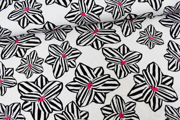 Viskosejersey Black and White Lilie Ökotex 100
