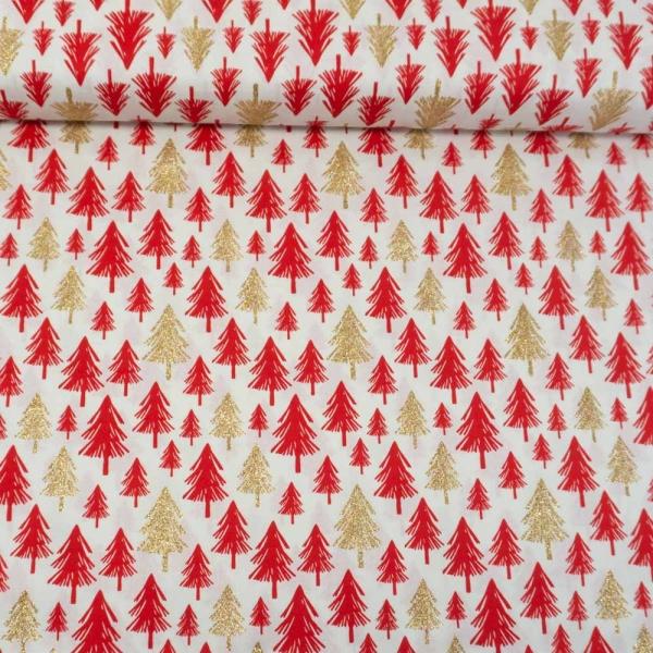 Baumwollwebware Weihnachtsbäume Glitzerdruck weiß