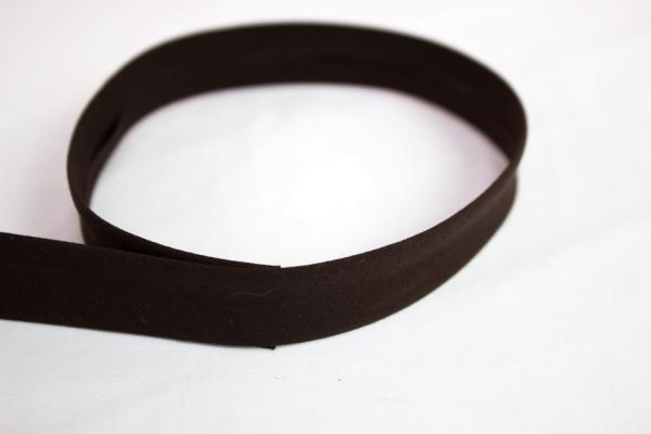 Elastisches Schrägband vorgefalzt braun Ökotex 100