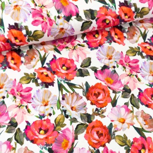 Viskosejersey Sommerblumen weiß