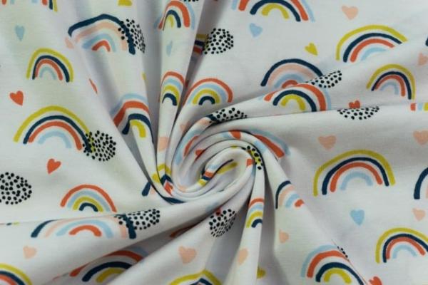 Bio-Baumwolljersey Lovely Rainbow weiß Ökotex 100