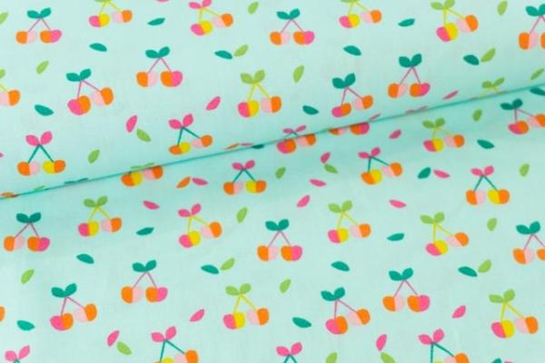 Baumwollwebware Popeline Rainbowkirschen mint Ökotex 100