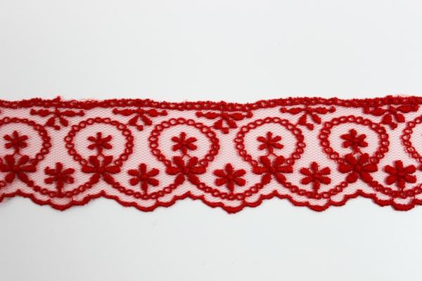 Bestickte Spitzenborte Kreisblumen rot 4cm Ökotex 100