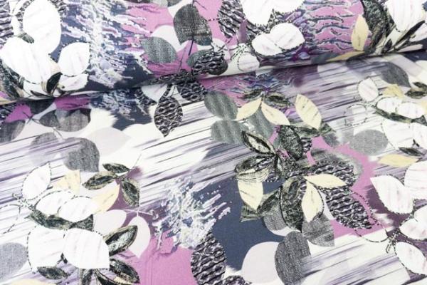 Viskosejersey Abstrakt Flowers lavendel Ökotex 100
