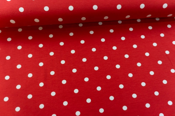 Baumwolljersey Basic DOTTIES rot Ökotex 100