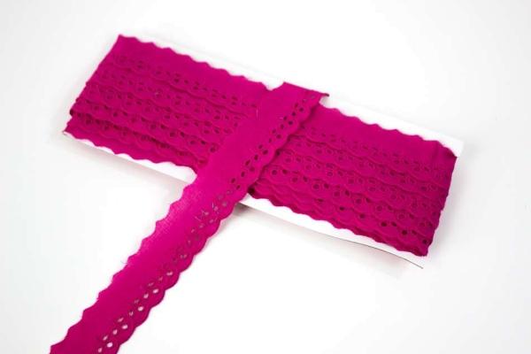 Baumwoll Spitzenborte Blumenranke pink