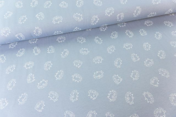 Baumwolljersey Hedgehog jeansblau-weiß Ökotex 100