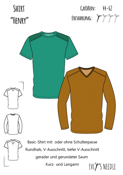 A0 Schnittbogen Herrenshirt Henry by EvLis-Needle