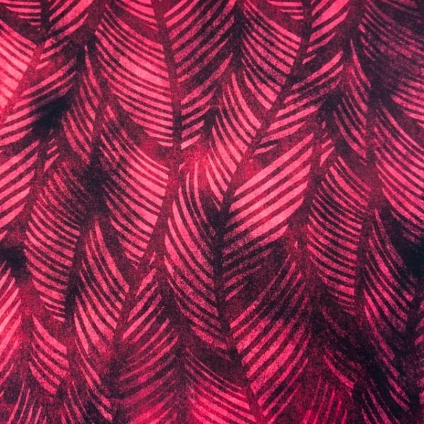 Bio-Baumwolljersey Wavey Leaves Watercolor bordeaux