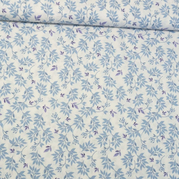 Baumwollwebware Zweige ecru-jeansblau