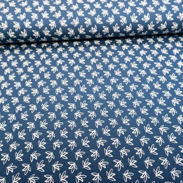 Baumwolljersey Small Leaves jeansblau dunkel