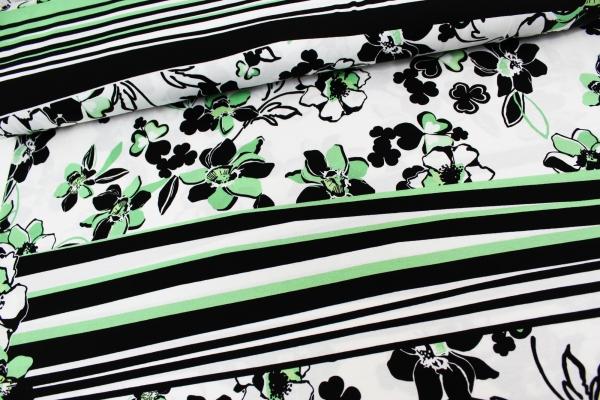 Viskosejersey Panel Big Flower grün-navy Summer Ökotex 100