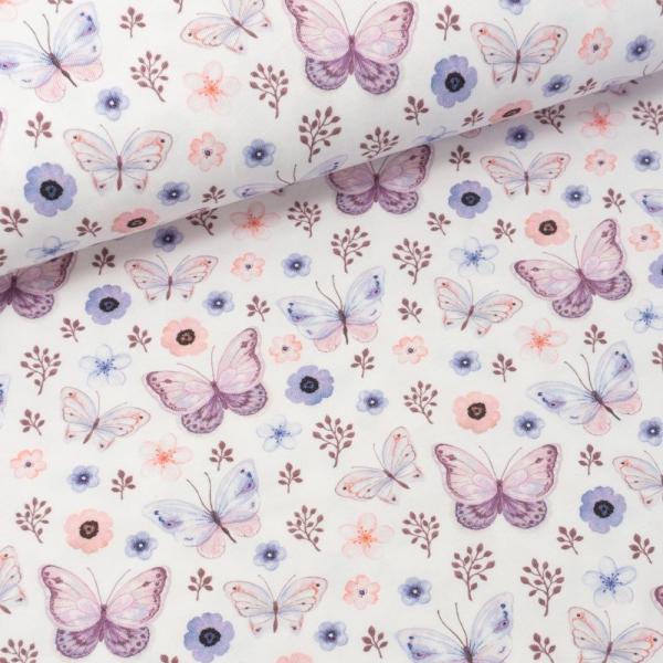 Bio Baumwolljersey Schmetterlinge weiß