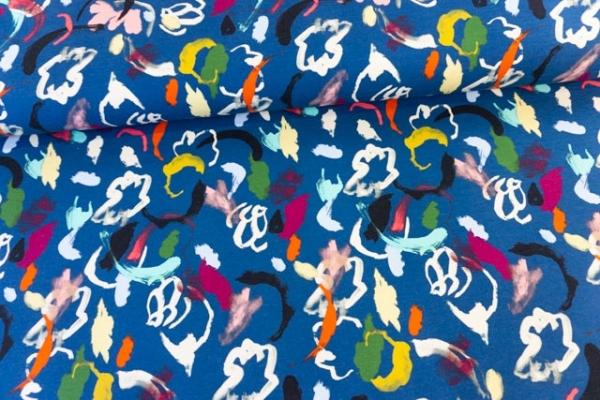 Sweat - French Terry angeraut Painted dunkelblau Öko Tex 100