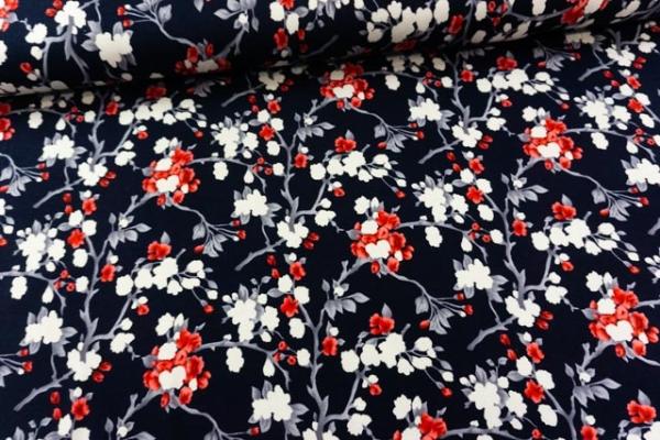 Viskosejersey Blütenstränge navy-blau-rot Ökotex 100