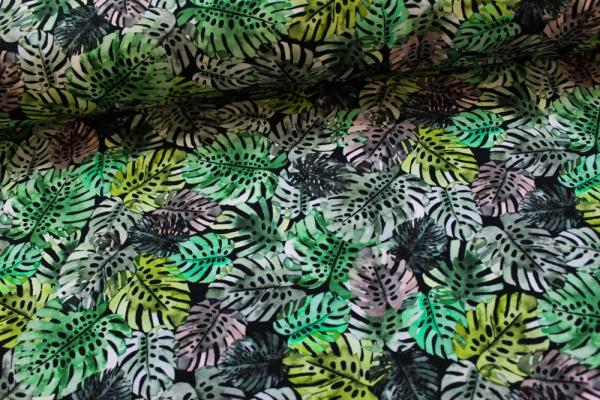 Baumwolljersey Monstera Leaves schwarz-khaki-grün Öko Tex 100