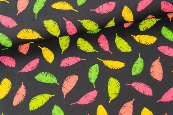 Baumwollwebware Popeline Rainbowleaves schwarz Ökotex 100