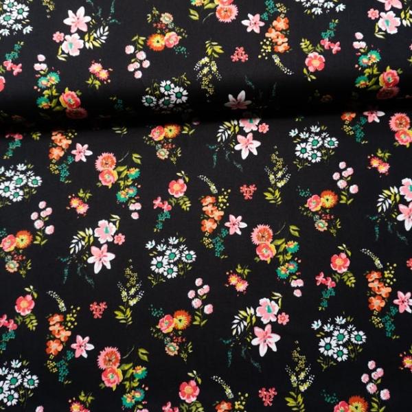 Baumwollwebware Flowery schwarz