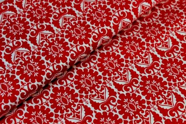 Gütermann Ring a Roses Orient-Ornamente weiß-rot Öko Tex 100