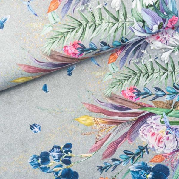 Bio-Baumwolljersey BORDÜRE Melange Fairytale Flowers grau