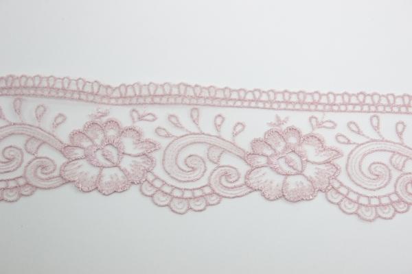 Bestickte Spitzenborte Große Blüte im Wind altrosa 6cm Ökotex 100