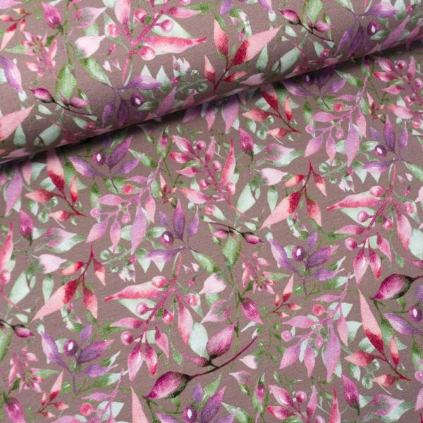 Viskosejersey Digital Artsy Leaves altrosa