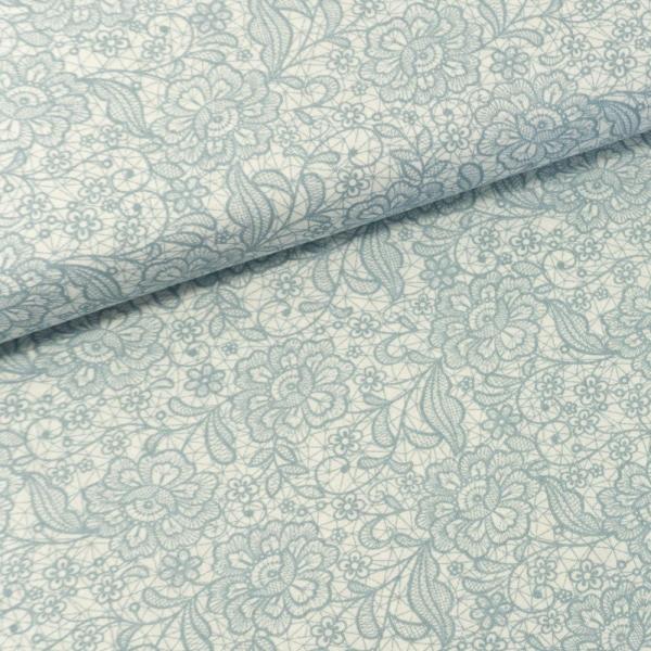 Baumwollwebware Italienische Kollektion Lace jeansblau