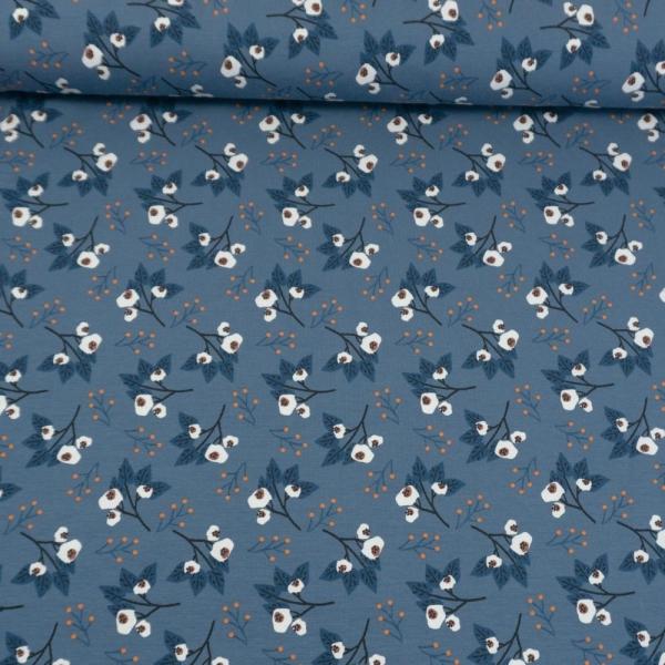 Baumwolljersey Schneebeeren jeansblau