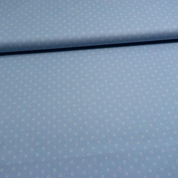 Baumwollwebware Kleine Margariten blau