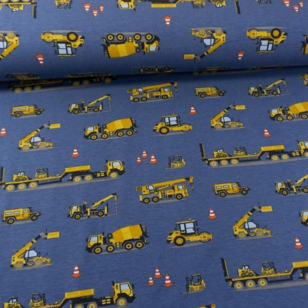 Baumwolljersey Baustellenfahrzeuge jeansblau