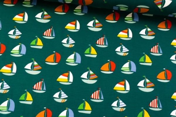 Baumwolljersey Segelboote dunkelgrün Ökotex 100