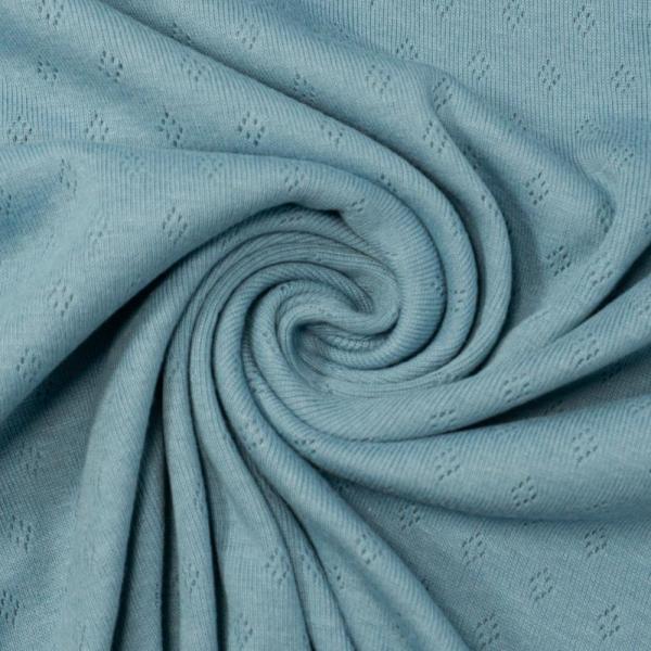 Baumwoll Lochstrick Jersey jeansblau