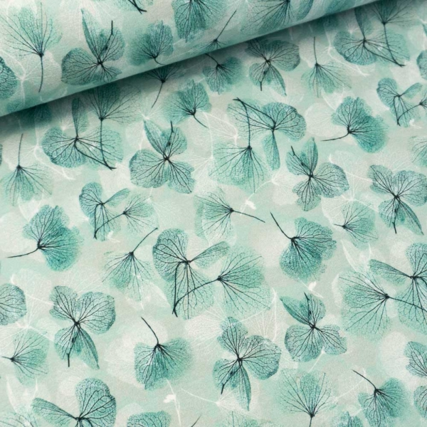 Sommersweat French Terry Ginkgo Blätter dusty mint