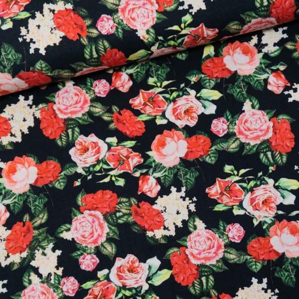 Viskosetwill Digital Rosen schwarz